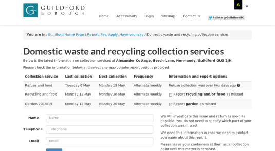 Guildford Borough Council - Missed refuse collections form